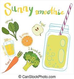 Recipe illustration smoothie (cocktail). Vector hand drawn illustration