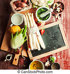 Recipe ingredients for a healthy vegetarian meal