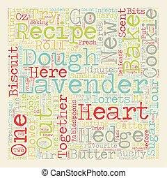 Recipe Lavender Heart Cookies text background wordcloud concept