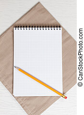 recipe notepad on wooden table
