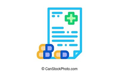Recipe of Drugs Supplements animated icon on white background