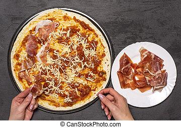 Recipe of pizza capriciosa on grey stone