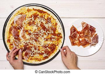 Recipe of pizza capriciosa on grey wood