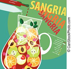 Vector illustration on color background featuring recipe of sangria, infographics