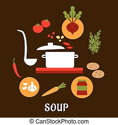 Recipe of vegetarian soup with flat icons