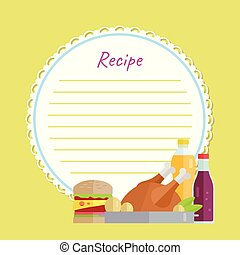 Recipe Paper with Chicken, Burger and Drink Vector