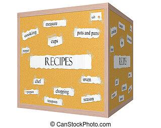 Recipes 3D cube Corkboard Word Concept