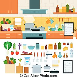 Cooking at home using online recipes app