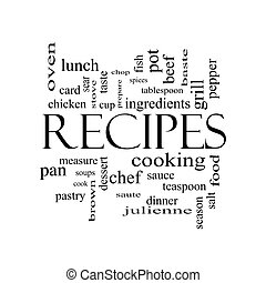 Recipes Word Cloud Concept in black and white with great terms such as cooking, measure, chop, grill and more.