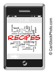 Recipes Word Cloud Concept on Touchscreen Phone
