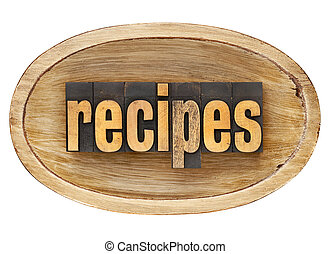 recipes word in wooden bowl - recipes - word in vintage...