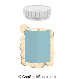 bottle drugs medicine prescription medical medicament recipient pill vector graphic isolated and flat illustration