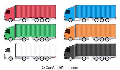 recipiente carga, caminhão, coloridos