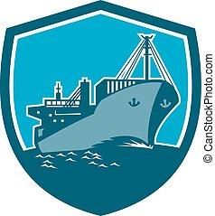 recipiente carga, escudo, retro, navio, bote