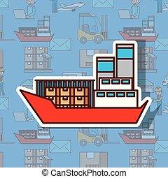 recipiente carga, frete, despacho, oceânicos, logistic, transporte, navio