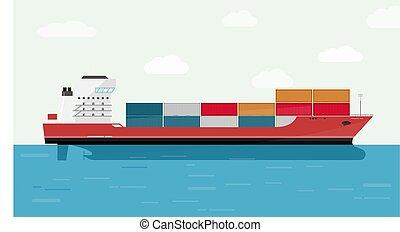 recipiente carga, illustration., eransportation., despacho, oceânicos, vetorial, navio frete, transporte