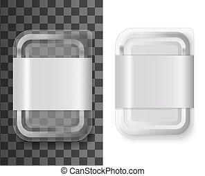 recipiente comida, mockup, realístico, plástico, etiqueta