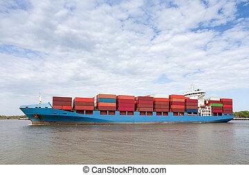 recipiente, completamente, dramático, carregado, navio,...
