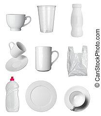 recipiente, copo, assalte, garrafa, e, saco