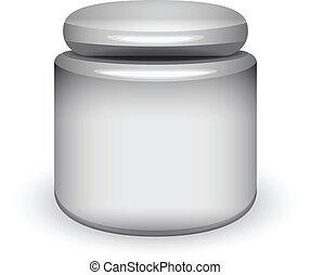 recipiente, cosmético, em branco