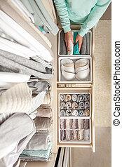 recipiente, dona de casa, meias, panties, underwear., roupas, limpo, põe, storage., identificado