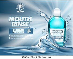 recipiente, ou, realístico, garrafa, mouthwash, 3d