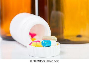recipiente, pílulas, droga