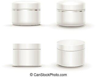 recipiente, pacote, cosmético, pó, em branco, creme, ou, gel