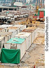 recipiente, para, trabalhador, habitação, um, local edifício, em, hong kong