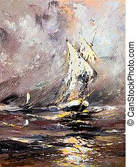 recipiente velejando, em, um, mar tempestuoso