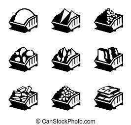recipientes, com, materiais edifício
