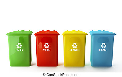 recipientes, para, reciclagem