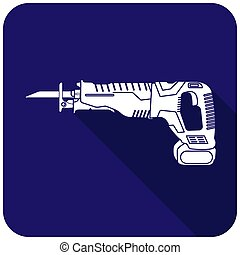 Reciprocating saw icon white on a blue background