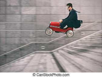 Reckless business man goes down the stairs with a car to get before the others. Concept of success and competition