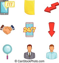 Reckoning icons set, cartoon style - Reckoning icons set....