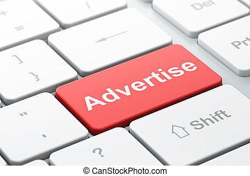 reclame, concept:, adverteren, op, computer toetsenbord