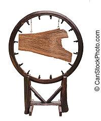 reclame, hout, plank, hangend, de, kettingen