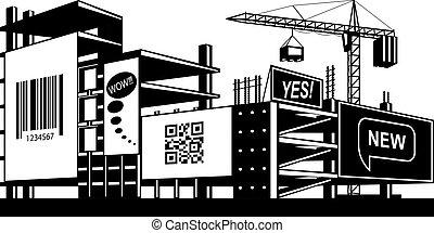 reclame, panelen, op, de, gebouw stek