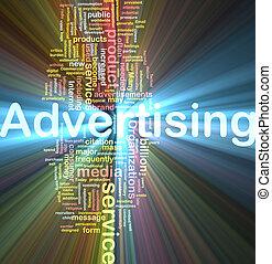 reclame, woord, wolk, gloeiend