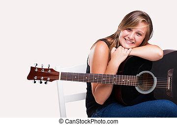 reclinado, el, guitarra