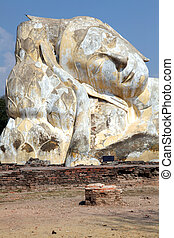 reclinar, gigante, buddha, ruína