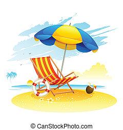 illustration of recliner under garden umbrella in sea beach
