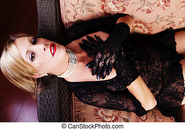 Reclining Blond Caucasian Woman Black Lace Dress