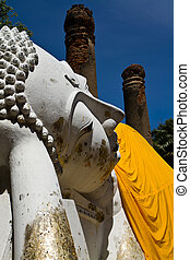 Reclining buddha at chaimongkon temple in thailand
