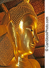 Reclining Buddha - Close up of the heard of the Reclining...