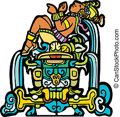 Reclining Mayan with waterfalls adapted from temple images.