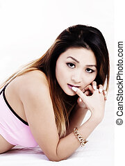 Reclining Portrait Attractive Asian American Woman Pink Top