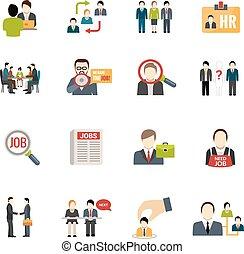 reclutamento, set, icone