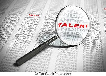 reclutamiento, talentos, concepto, -, buscando