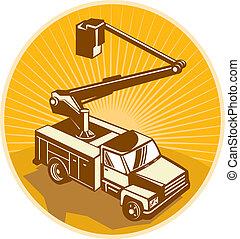 recogedor, cereza, cubo, acceso, equipo, camión, retro